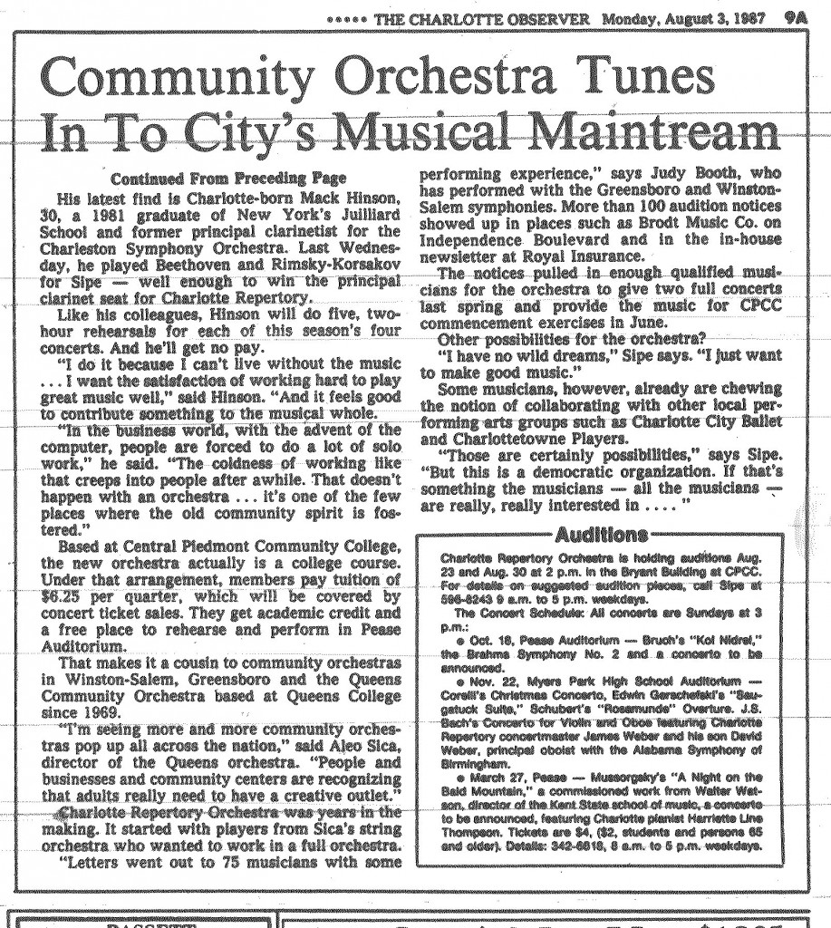 August 1987 Newspaper Article